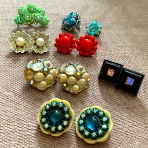 Collection of vintage clip-on earrings